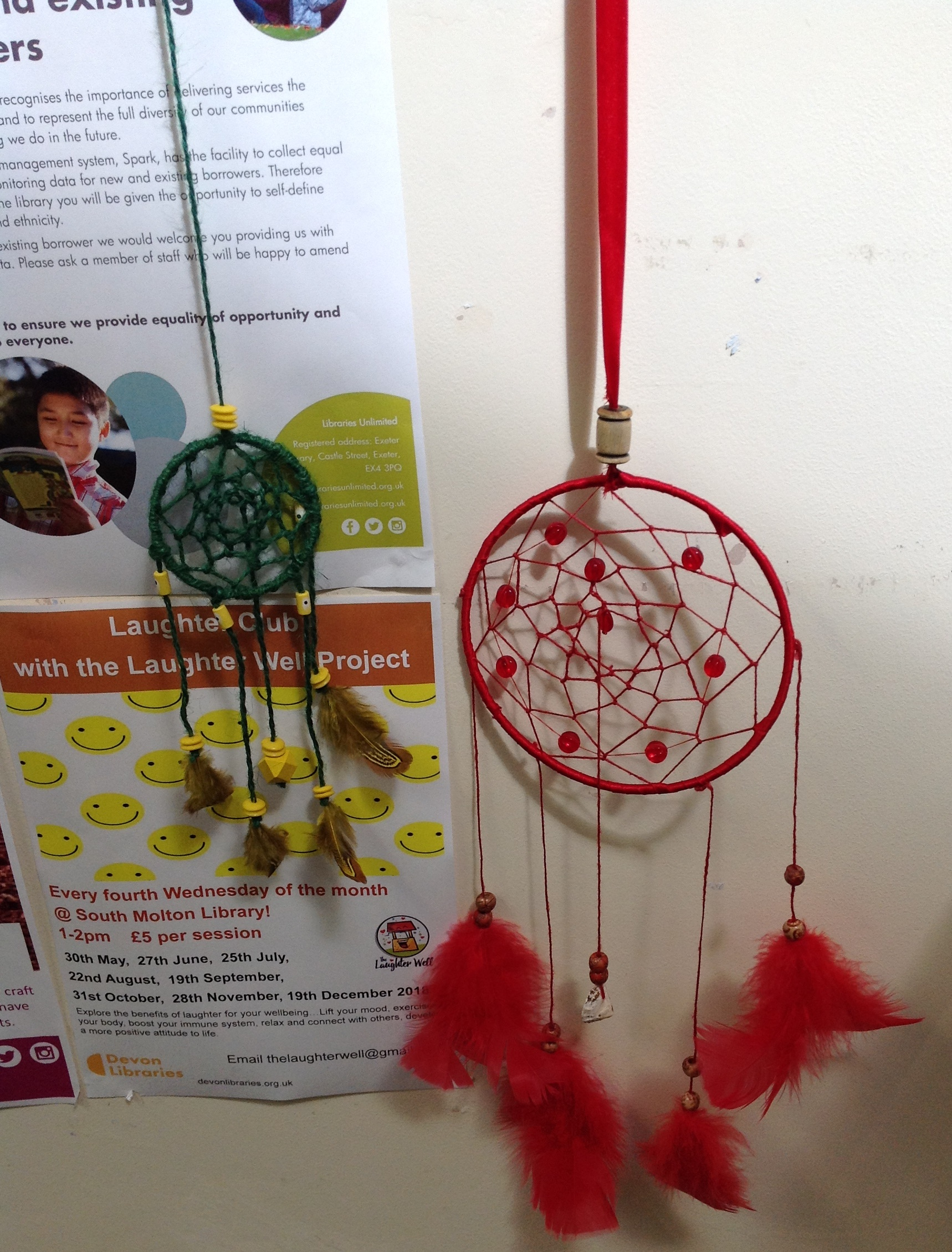 AND 14:00-16:00. Design and make your own fiendish Mischief Catcher using hoops, wool, string, beads and feathers. Perfect to keep children 7+ entertained, please book with the library. £5 to pay.