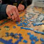 A jigsaw is always available at The Hayridge. If you have a couple minutes to spare, see if you can add a few pieces until completed. A new one will replace it.