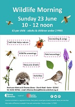 Join us at St Thomas Library for a family friendly event celebrating wildlife in our local area. To link in with the Wildlife Trust's #30DaysWild challenge we will have a variety of activities for all including stories, craft and wildlife screenings. Cost is just £3 per child with free entry for parents/guardians and children under 2. Book your space at the library, or message us, tel: 01392 407061 or email: stthomas.library@librariesunlimited.org.uk