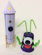 Craft sessions suitable for 3+ Join Cassie / Lee for some spacey fun. Make a Super space craft and happy alien. Free but donations towards cost of materials appreciated. BOOKING ESSENTIAL as we have limited space. Message us, tel: 01392 407061 or email: stthomas.library@librariesunlimited.org.uk