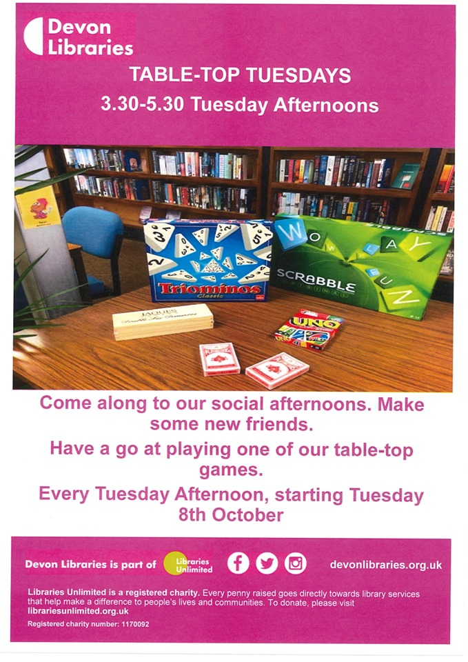 A Selection of games for your to enjoy - scrabble, uno, dominoes, tri-ominoes, playing cards. Every Tuesday afternoon!