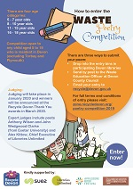 DEADLINE 30/11/19 Aged between 5 and 18 and living in Devon? Concerned about rubbish and waste? Why not write an exciting and inspiring poem for a Waste Poetry Competition! See zone.recycledevon.org/poetry-competition-2019 for further information. Entries can be returned to St Thomas Library and other participating Devon Libraries.