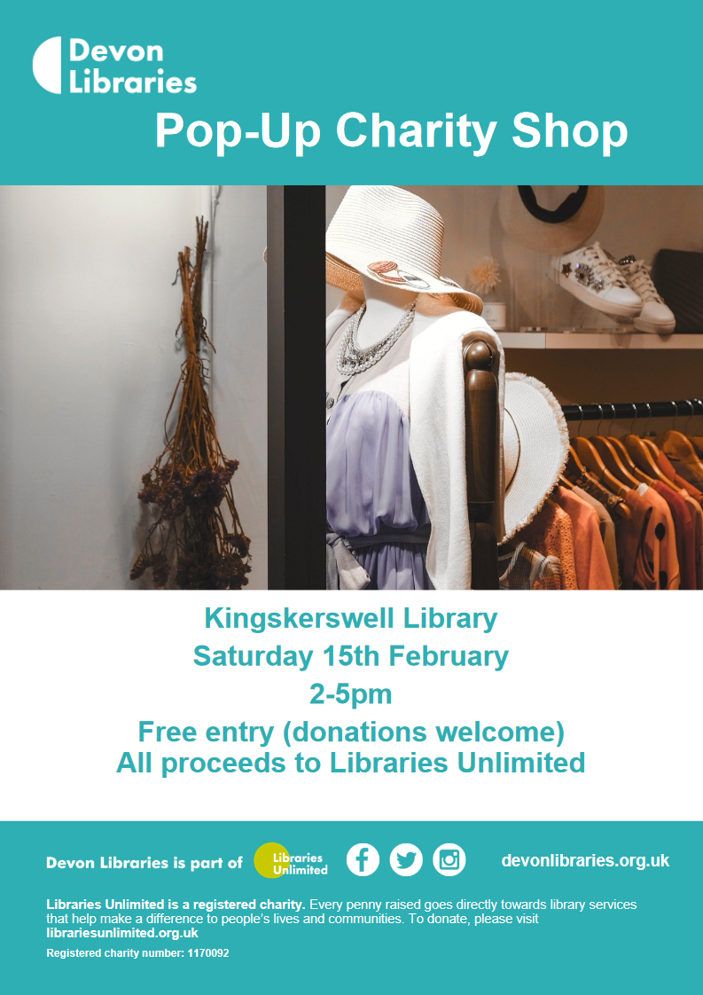 If you love charity shops why not come and visit ours? We will have good quality preloved clothes, accessories, unopened toiletries and more at very reasonable prices. All proceeds to Libraries Unlimited. Free entry (donations welcome), items individually priced.