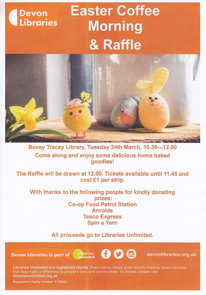 Come and join us for our Easter Coffee Morning & Raffle draw. Raising Funds for Libraries Unlimited. Donations welcome.
